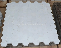 Thassos White Hex Pattern Mosaic Tile (without joint)