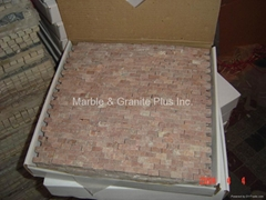 Rojo Alicante Split finish marble mosaic tile