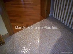 After Effect of Mesh Mother of Pearl Mosaic tiles on the floor