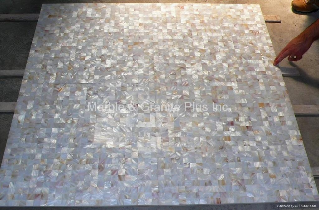 25x25mm/600x600x11mm Solid White Freshwater MOP tile (Ceramic Tile backing)