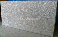 25x25mm/2440x1220x20mm Solid White freshwater MOP slab