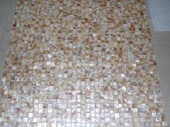 mesh Natural Yellow shade mother of pearl (MOP) shell mosaic tile
