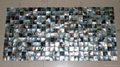 mesh 25x25mm/322x322mm Black Mother of Pearl mosaic tile, with open grout gap