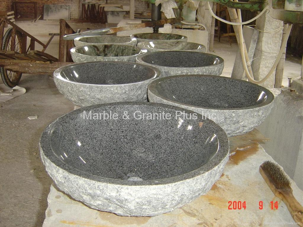 Granite bowl sink with natural cleft finish exterior 3
