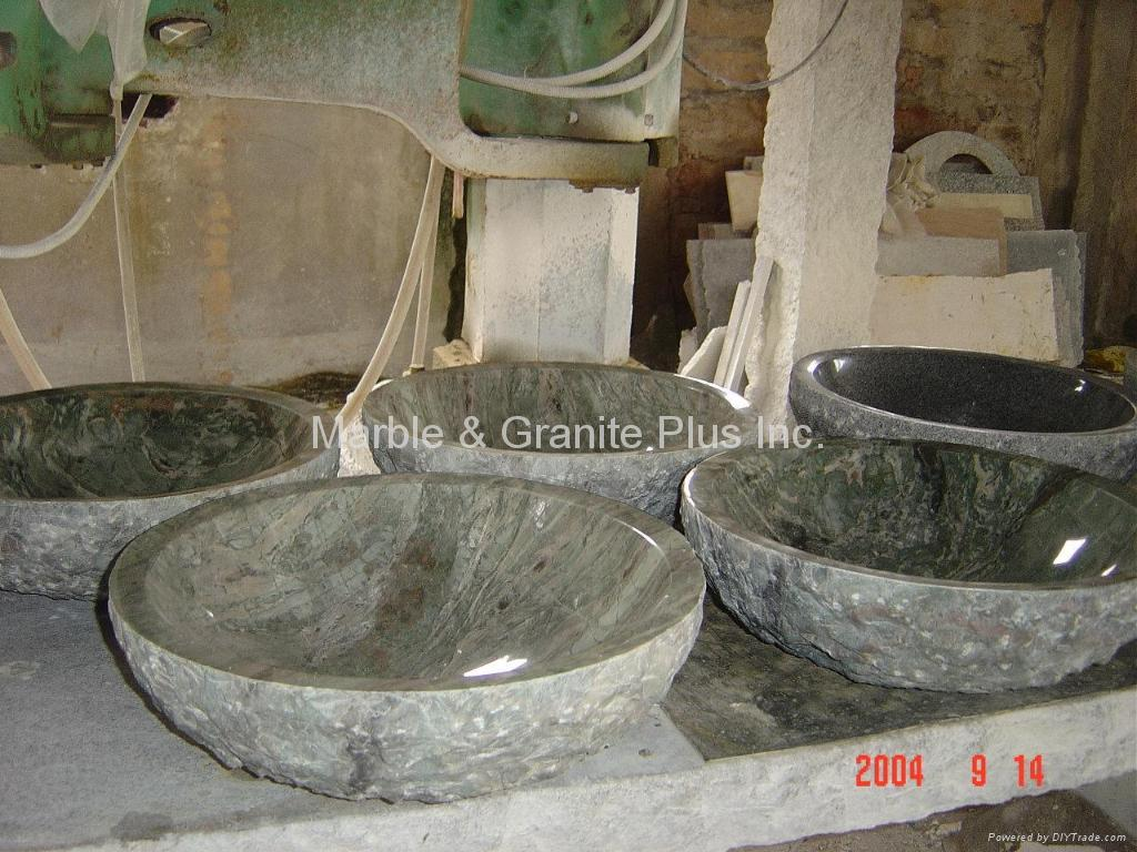 Granite bowl sink with natural cleft finish exterior 4