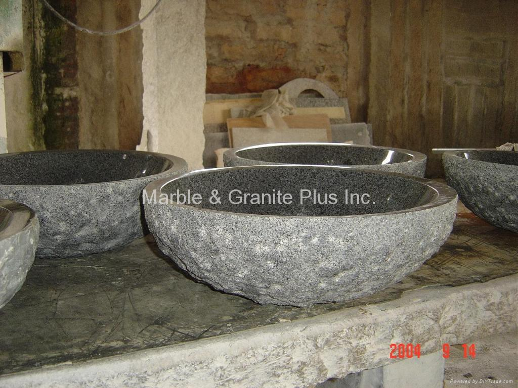 Granite bowl sink with natural cleft finish exterior 5