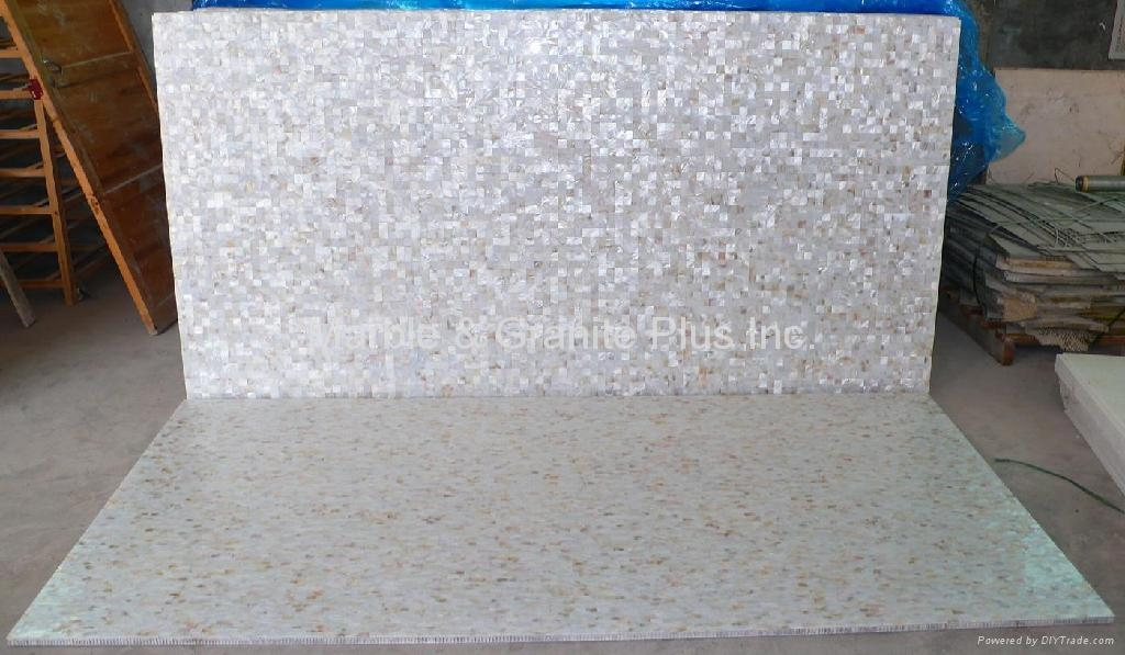 25x25mm/2410x1210x20mm Solid White freshwater MOP slab