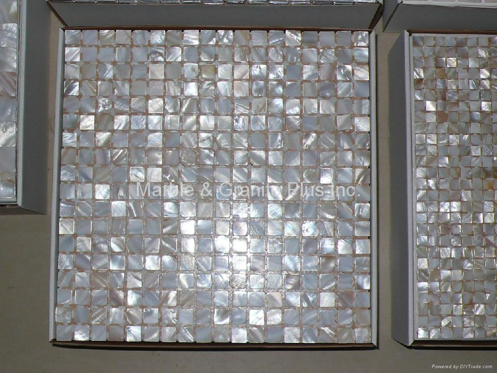 15x15mm/305x305x2mm mesh White MOP Mosaic Tile