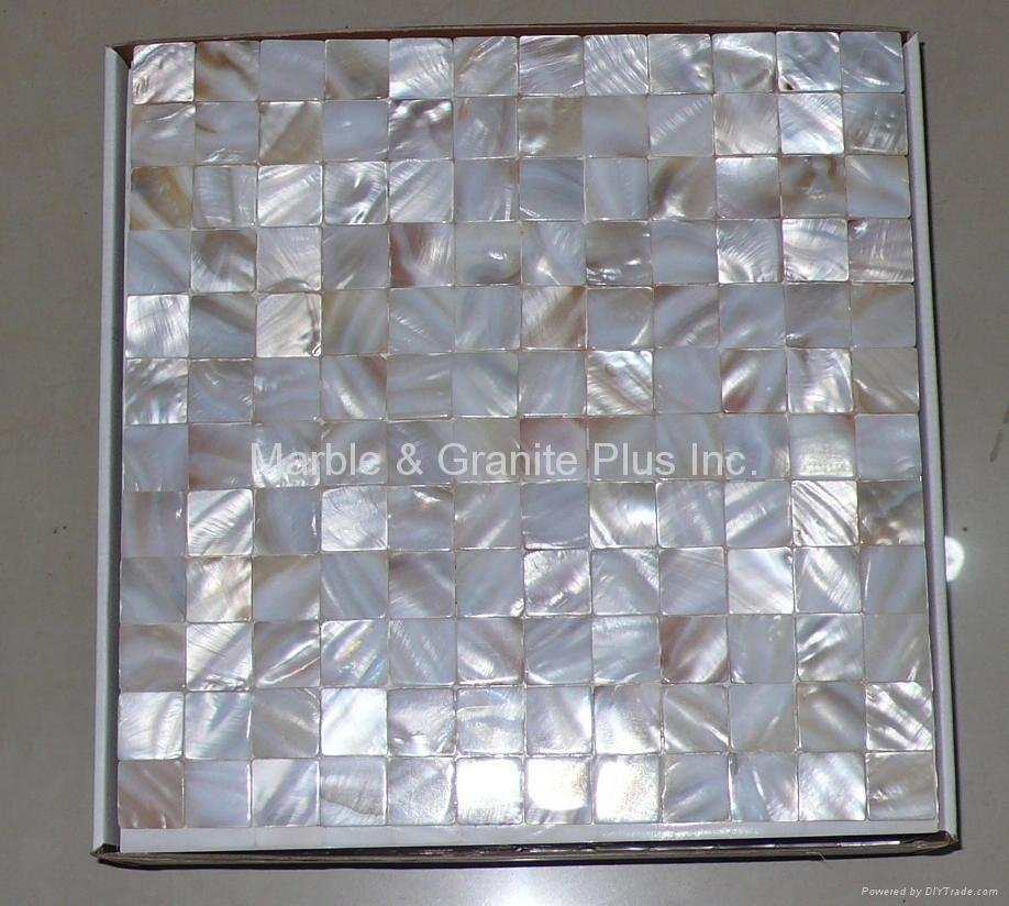 25x25mm/305x305mm mesh White MOP mosaic tile (without gap format)