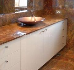 Rosso Damascus bathroom