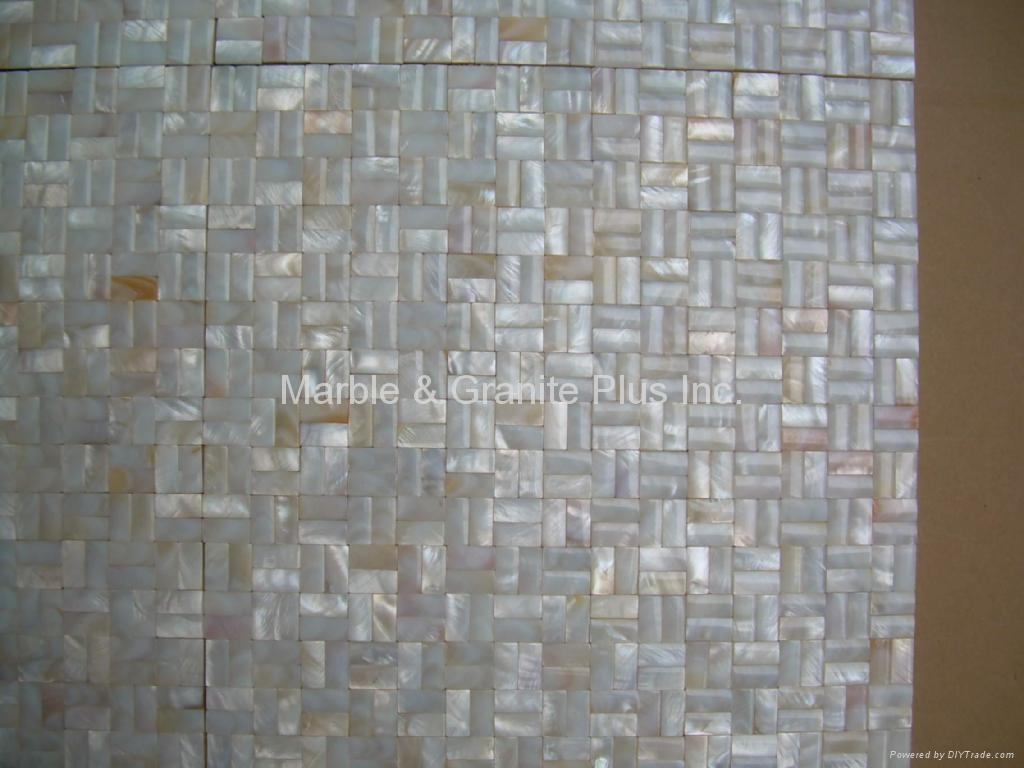 10x20mm/300x300x3mm mesh 3D Mother of Pearl (MOP) shell mosaic tiles