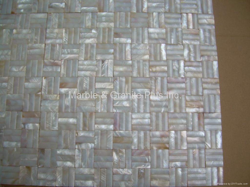 10x30mm/300x300x3mm mesh 3D Mother of Pearl (MOP) shell mosaic tiles