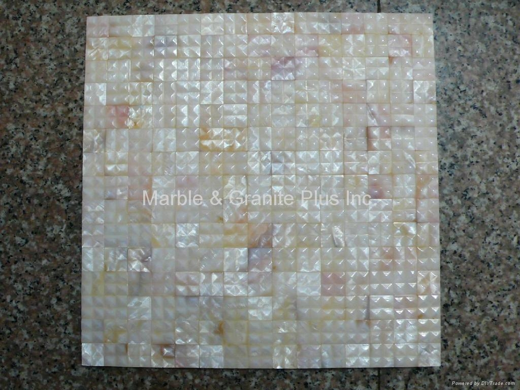 20x20mm/300x300x3mm mesh 3D Mother of Pearl (MOP) shell mosaic tiles
