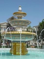 Crystal White fountain border & Cloisonne Fountain
