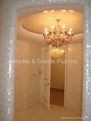 After installation of mesh White mother of pearl mosaic tiles