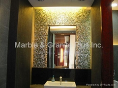 After installation of solid Blacklip Seashell mother of pearl tile