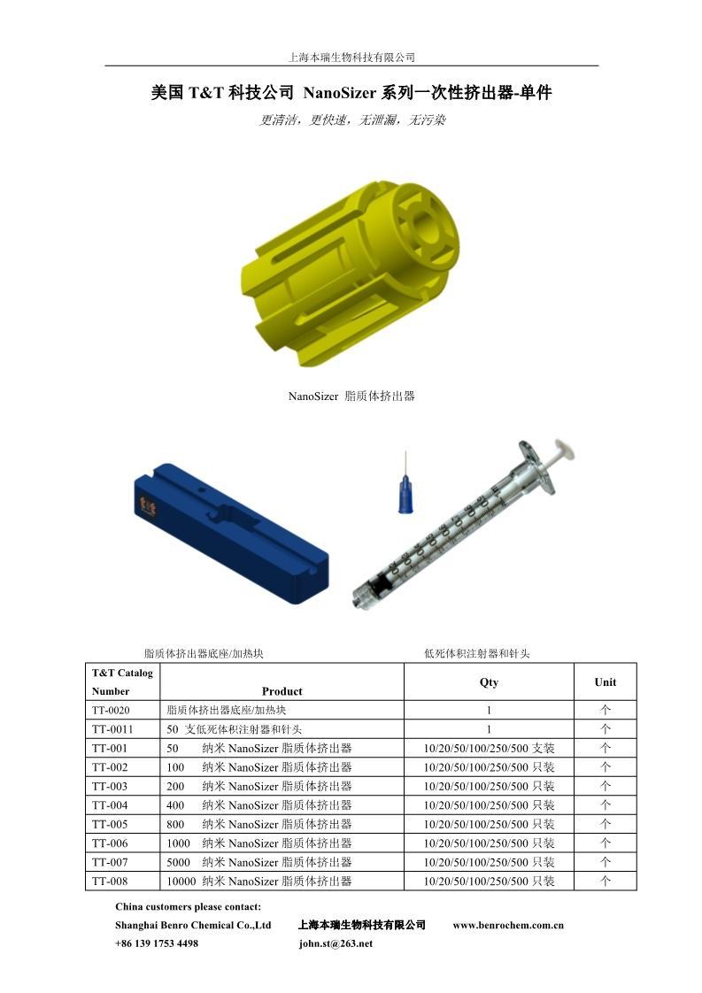 美國T&T科技公司 NanoSizer系列一次性擠出器-單件 4