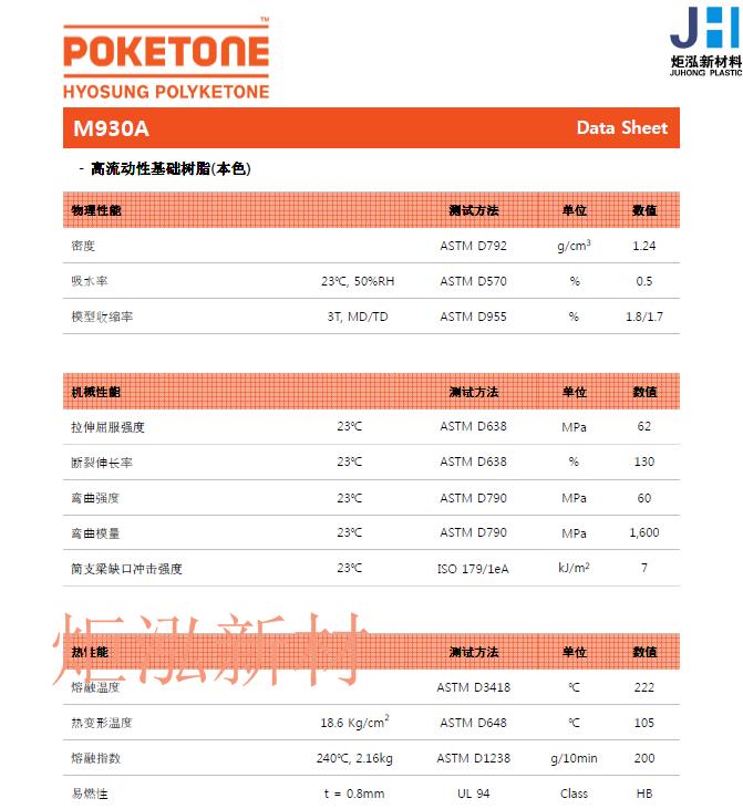 代理韩国晓星HYOSUNG POLYETONE 聚酮POK系列产品M130A,M730A,M930A 4