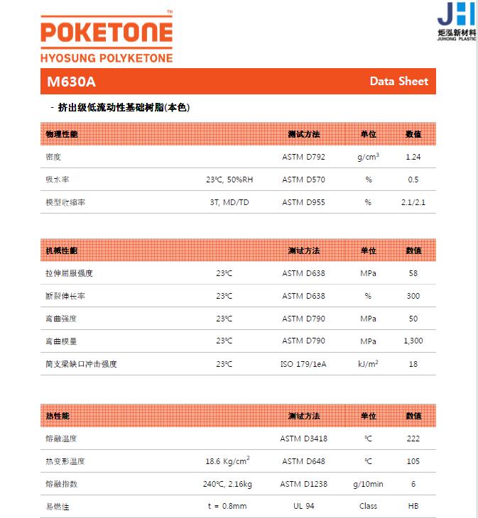 供应吹塑级 食品级聚酮POK韩国晓星M630F 高阻隔 食品包装专用塑胶原料 2