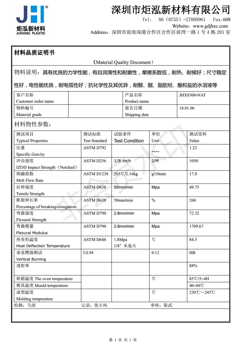 Transparent grade PC/PET Shenzhen Ju Hong JHX7300 chemical resistant UV  3