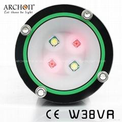D32VR 红光+白光 LED强光潜水手电筒 多用途水下摄影摄像补光灯