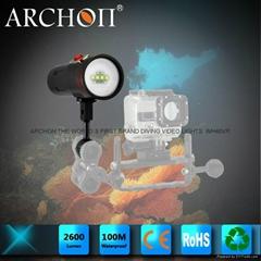 ARCHON奧瞳D34VR潛水手電筒及潛水攝影補光燈 2600流明 100米防水