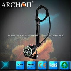 Archon奧瞳DH30分體式潛水手電筒 強光遠射充電防水探照燈 3000流明