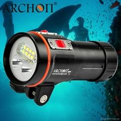 ARCHON奧瞳D37VP專業潛水手電筒+潛水攝影補光燈 防水散光充電18650潛水裝備