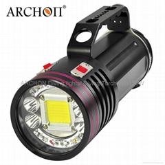 ARCHON奥瞳专业潜水手电筒 超强光led 防水 直充 摄影 摄像 补光灯 DG150W