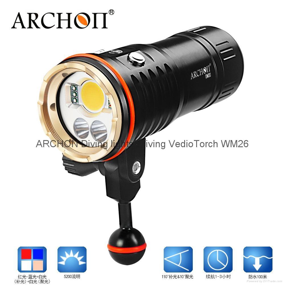 ARCHON奧瞳DM20專業強光潛水手電筒 LED潛水攝影補光燈 5200 流明  散光+聚光  1