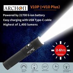 ARCHON奧瞳V10P專業潛水手電筒 21700鋰電池 USB快速充電 100米潛水設備