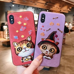 jelena Embroidery 3D Cat Phone Case For iphone 6s 6 7 8 Plus Case For iPhone X
