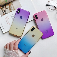 Double Color Gradient Thin Clear Soft Silicone TPU Case Cover