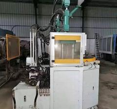 臺灣百科55噸帶轉盤二手立式注塑機