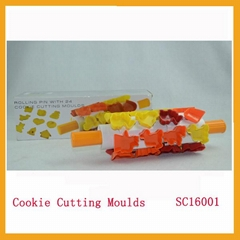 Hot sale Plastic Rolling Pin With 24 Cookie Cutter Moulds,Biscuit Mould
