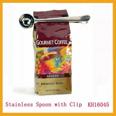 Stainless steel coffee spoon and spoons with clip mirror polish