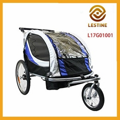 2-in-1 collapsible 2-Seater Baby Stroller Jogger / Bicycle Trailer w Pivot Wheel