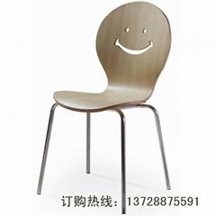 曲木座板不鏽鋼腳休閑椅