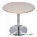 三胺板桌面不鏽鋼腳快餐桌