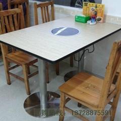 鑄鐵腳人造石桌面火鍋桌