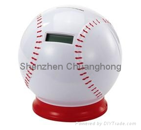 Professional baseball shaped coin bank with counter 1