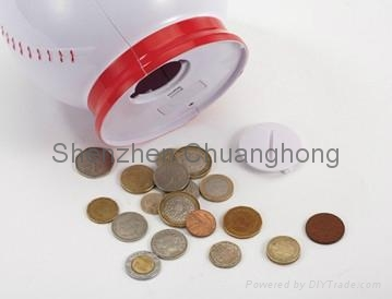 Professional baseball shaped coin bank with counter 3
