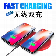 Dual Fast Wireless Charger Qi Charging Stand wireless charger for Two phone