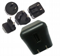 10W power charger with Multi AC Plugs, USB socket,