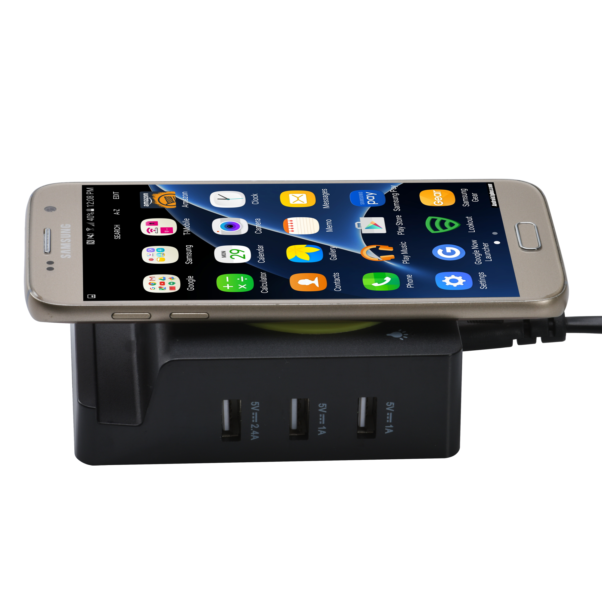 Fast Qi wireless charger station with 3 USB ports 4