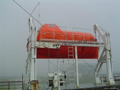 Lifeboat with davit and fire-fighting device  for training center