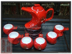 China red porcelain  7pcs deluxe Tea set ,Unique tea set