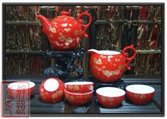 China teaset ,Chinese red porcelain,teapot ,8pcs