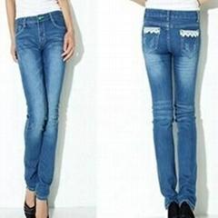 OEM women ladies girls Jeans Denim factory manufacture fashion wholesale 100% co