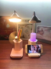 Multifunctional LED desk Table Lamp with Pen container and Mobile Phone holder